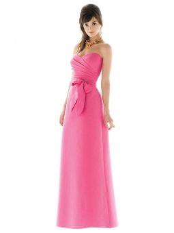A-line Sweetheart Bow Floor-length Fuchsia Taffeta Evening Dress