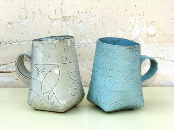 Just love the shape and patterns on pinterest for Pottery cup ideas