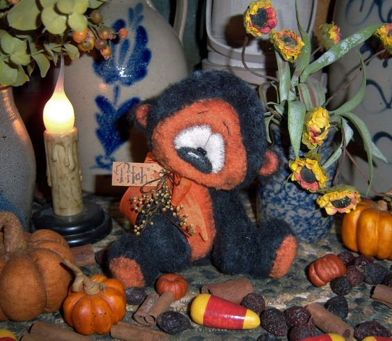 "Primitive Halloween Black Teddy Bear 5"" Doll Vtg Patti's Ratties Artist Cub OOAK"