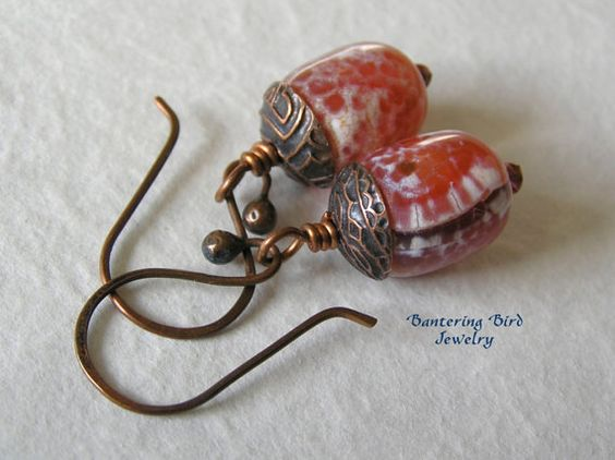 Vermilion Crab Fire Agate Drop Earrings with Artisan Etched Copper Caps, Antiqued Copper Jewelry