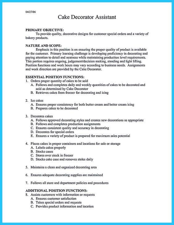 Cake Decorator Resume Skills | Cipanewsletter
