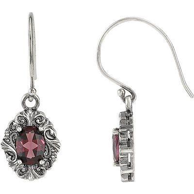 Gorgeous Genuine Gemstone Rhodolite Garnet Earrings at BitCoin Gems