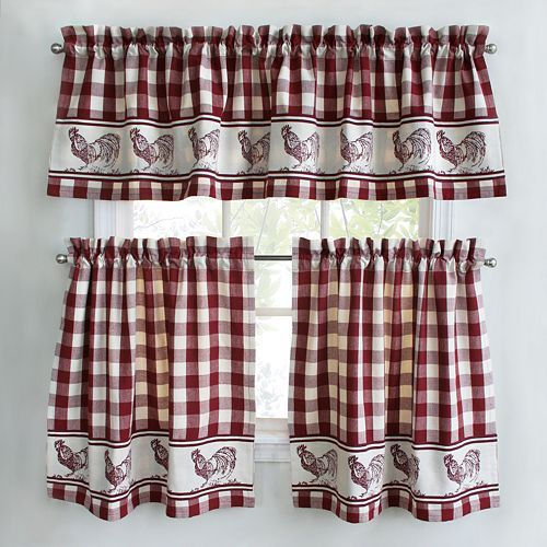 Kitchen Curtains chicken kitchen curtains : Rooster Themed Kitchen Curtains Complete Window Treatment Tiers ...