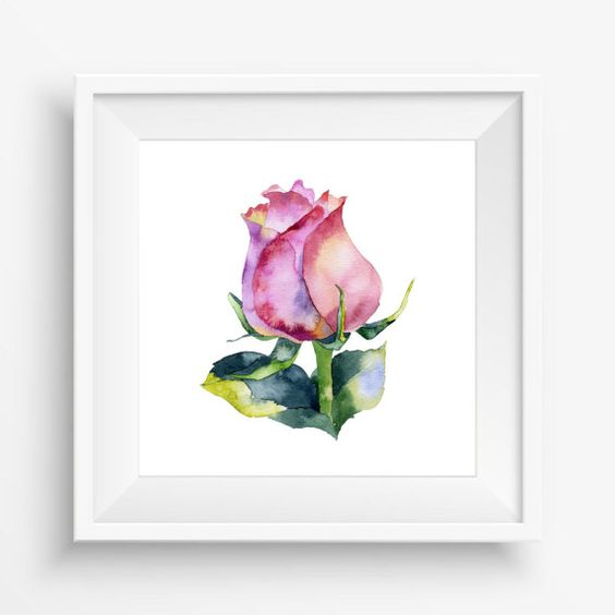 Red flower, Rose flower, Watercolor,digital art print,nursey decor,home decor,jpeg,300 dpi