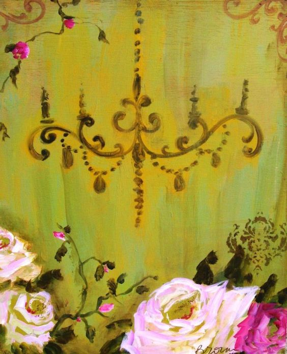 green and pink with chandelier.via Etsy.