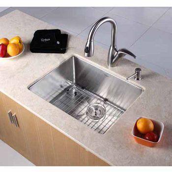 Kraus Undermount Single Bowl 16 gauge Stainless Steel Kitchen Sink  #kitchensource #pinterest #followerfind