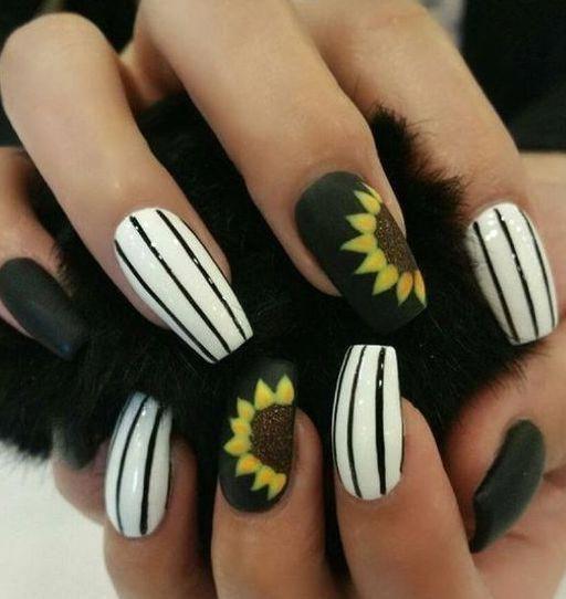 Fascinating Black And White Nail Art Design Sunflowernails Sunflower Nails Yellow Nails Design Yellow Nail Art
