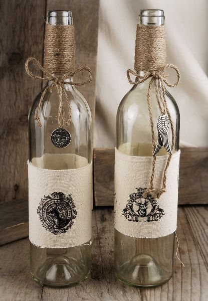 "Could so make these using empty wine bottles and fresh new corks for gifts Stamp on Burlap Burlap Wrapped 13"" Glass Bottles with Charms (2 bottles) $14.99:"