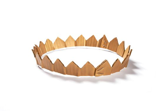 David Bielander, 2015 - Cardboard Crown,   necklace, gold 18k, edition 00 of 5,  7 x 8 x 1.25 inches   photo: Dirk Eisel   Cardboard becomes gold, gold becomes cardboard Cardboard tiaras and crowns become precious jewelry.""