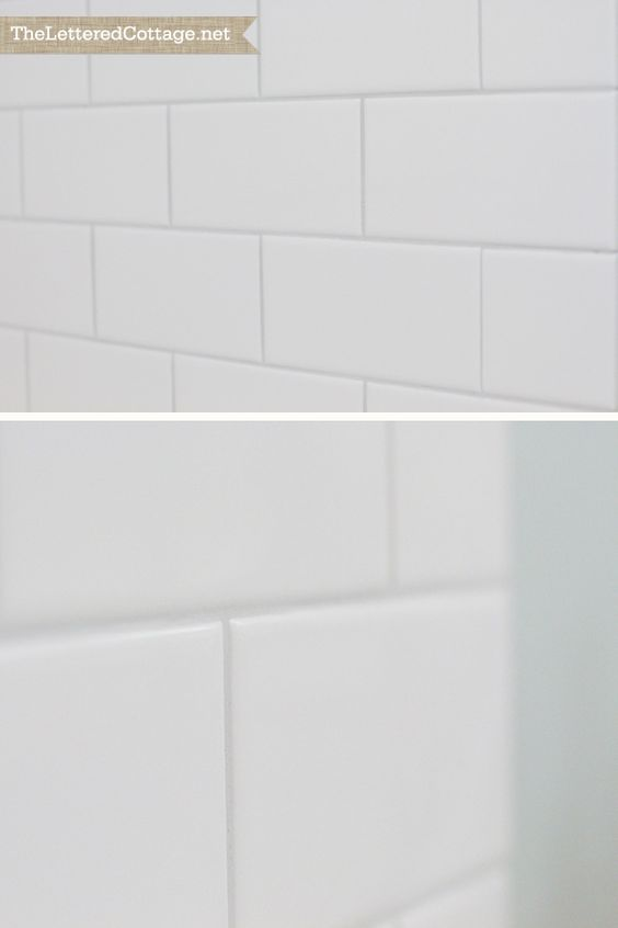 Warm Gray Grout White Subway Tile Bathroom Organization