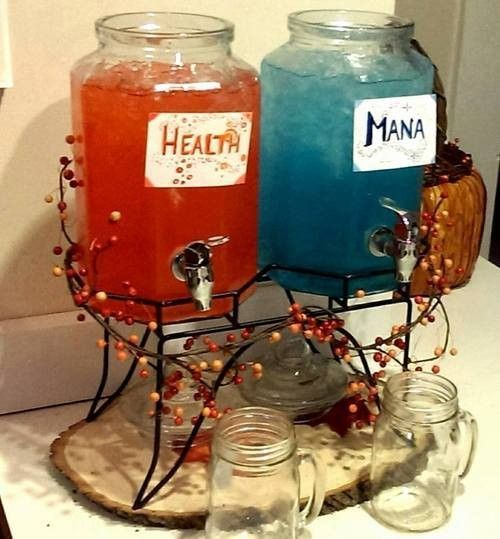 How To Throw A Party For Gamers---- Would love to do something like this for Non-Alchoholic drinks at the wedding. Display them like this. :)