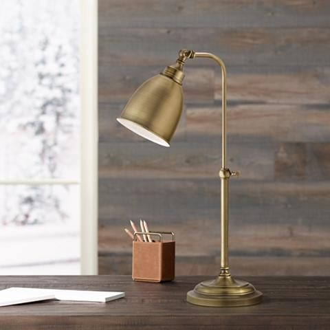 Antique Brass Metal Adjustable Pole Pharmacy Desk Lamp P9572 Lamps Plus Desk Lamp Adjustable Desk Lamps Traditional Desk Lamps