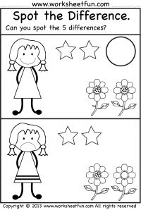 math worksheet : spot the difference  worksheet can you spot the 5 differences  : Spot The Difference Worksheets For Kindergarten