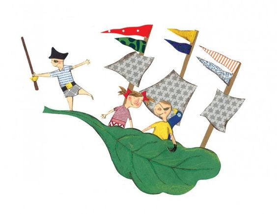 La mer by Josée Bisaillon, available as a signed print on surtonmur.com.   Boat * Pirate * Kids * Patterns * Illustration * Art