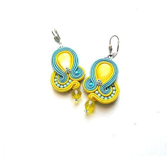 Dangle Earrings Soutache Earrings Turquoise and by StudioGianna