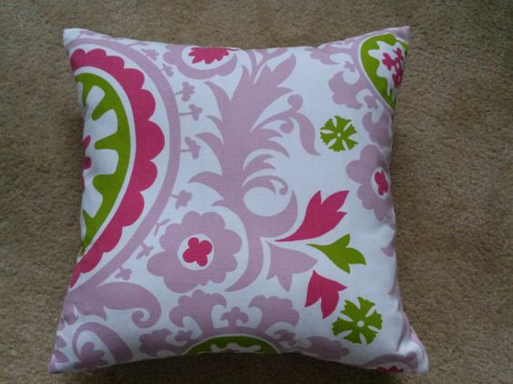 Candy Pink Suzani Pillow Cover, Chartreuse/Pink Suzani Pillow Cover, 18''x18''