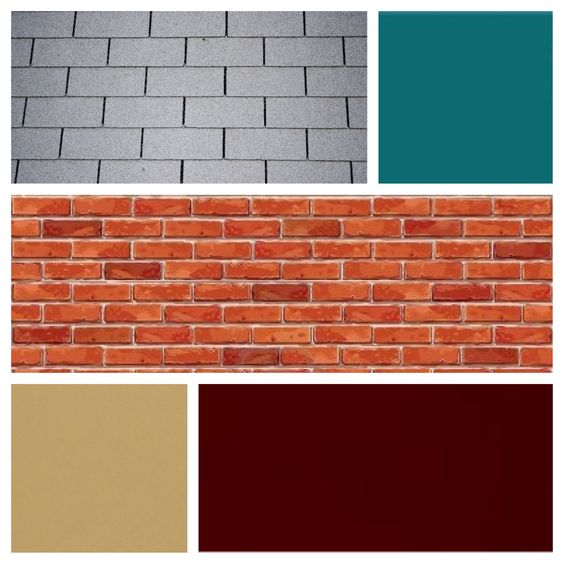 Exterior Color Scheme For Red Brick And Grey Roof Burgundy Door Teal Siding And Tan Shutters