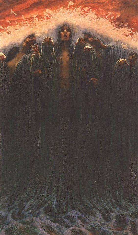 Carlos SCHWABE :: La Vague (The Wave), 1907