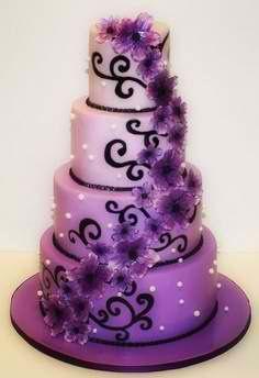 "Purple and Black Wedding Cake => SOURCE: @Iris Loos Loos White Hamilton ""Shock and Awe Sweets .ME"" Board via."