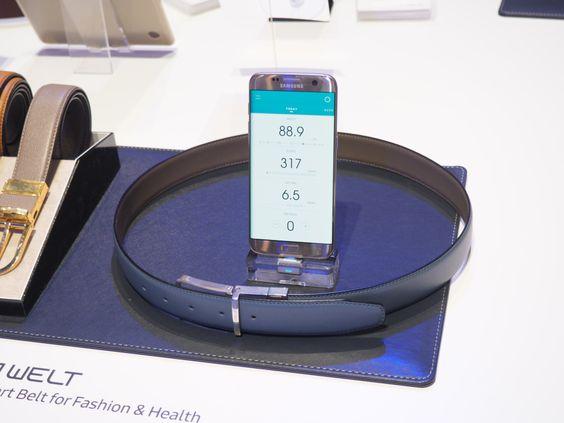 Samsung's smart belt integrating fitness tracking into a belt.