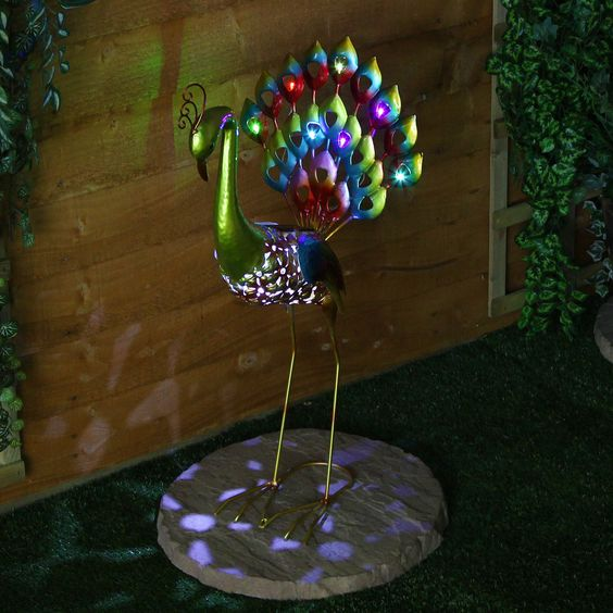 Large solar powered 8 led peacock figure novelty outdoor garden ornament light ebay garden - Outdoor peacock decorations ...