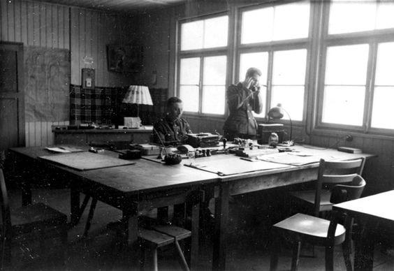 SS men in an office, Birkenau, Poland, 1941