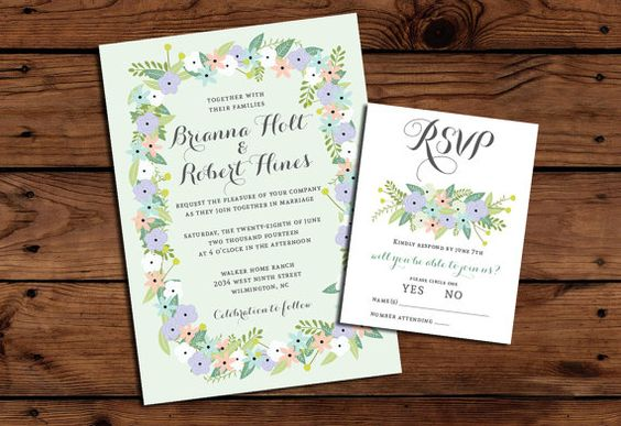 Printable Wedding Invitation Bundle // Pastel Floral Invite // Spring Wedding Invitation // RSVP // Thank You Card // Mint Invitations on Etsy, $43.06 AUD