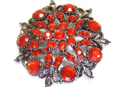 BIG RED RHINESTONE BROOCH PIN