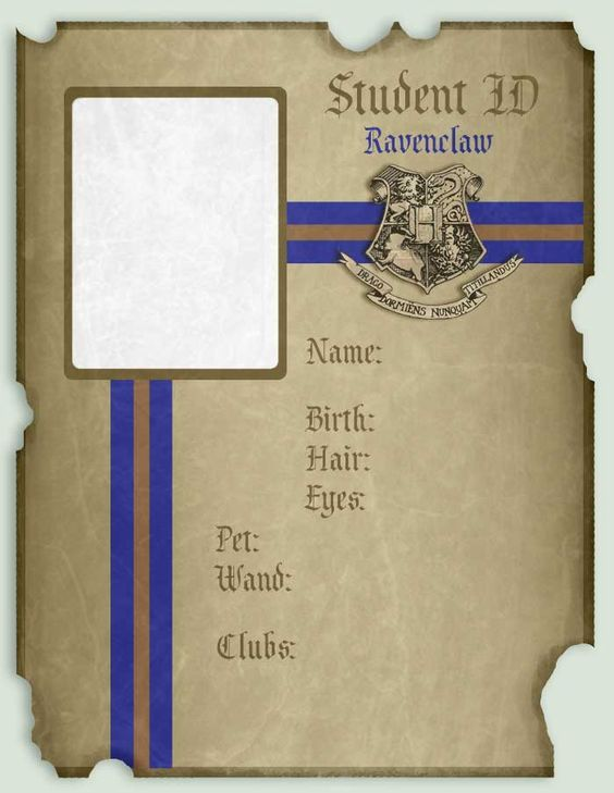 Student Id Ravenclaw Harry Potter Geburtstagsparty Ideen Harry Potter Hauser Harry Potter Klassenzimmer