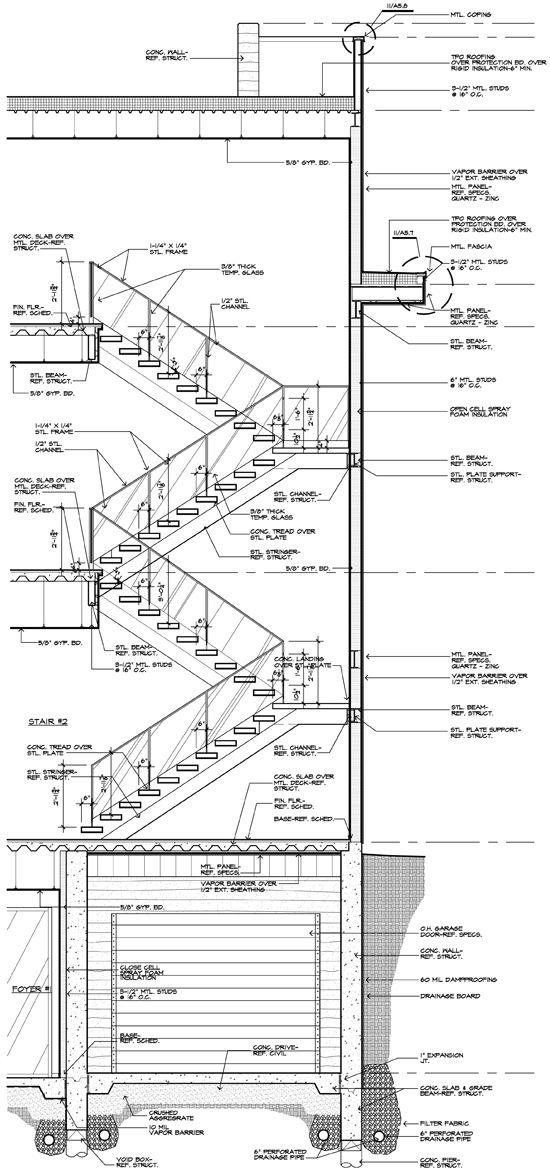 modern stair construction drawing and detail detay