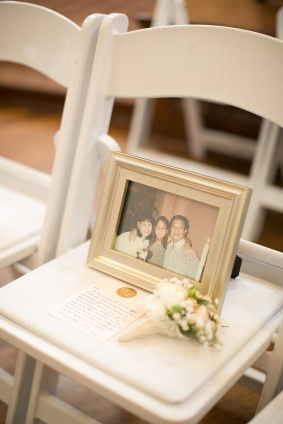 14 Unique Ways to Remember Loved Ones on Your Wedding Day via Brit + Co; save seats for mamaw and grandad