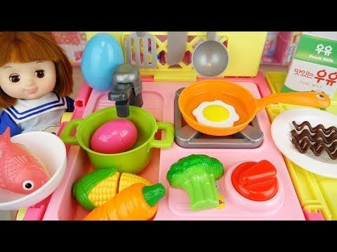 Kitchen Cart And Baby Doll Toys Surprise Eggs Baby Doli Play Youtube Cooking Toys Baby Doll Toys Play Doh For Kids