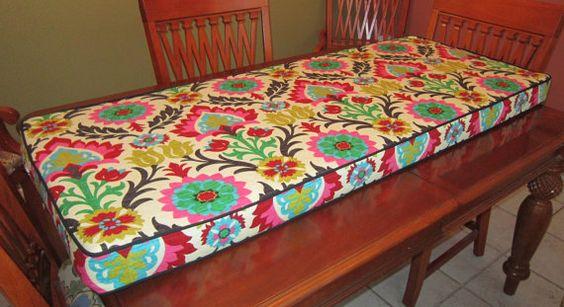 Bench Cushion in Waverly's Santa Maria by PillowLoftHomeDecor