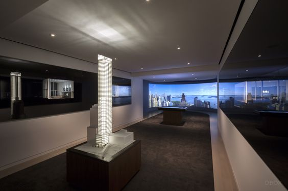 Our 50 West sales gallery, with dioramas, interactive building model, floorplan plinth and 180 degree view projections. DBOX 2014