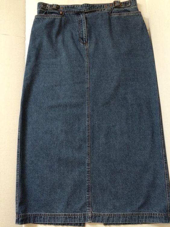 Ralph Lauren Jean Co Long Maxi Denim Medium Wash Modest Jean Skirt Women Size 16 #LaurenRalphLauren #Maxi