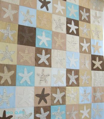 Starfish Quilt. Check out this site and the amazing sea inspired quilts. Wish I could ask my mom to make me one!: