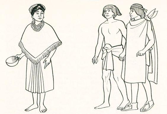 La mujer común en el mundo mexica portaba la falda de enredo sostenida por un fajero, y cubriendo el torso: el quechquémitl. El cabello trenzado y recogido de distintas formas. Los varones utilizaban un maxtlatl (braguero)  anudado al frente, encima un lienso llamado  tilma o ayate anudado de distintas formas desde el cuello. La tela, el nudo, el largo, el colorido y lo elaborado del tramado en la tela, indica también la posición que ocupa en la sociedad mexica. mcba.