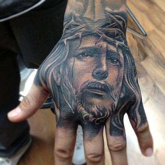 jesus hand tattoo men ideas