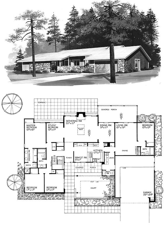 Contemporary ranch retro traditional house plan 95154 for House plans with safe rooms