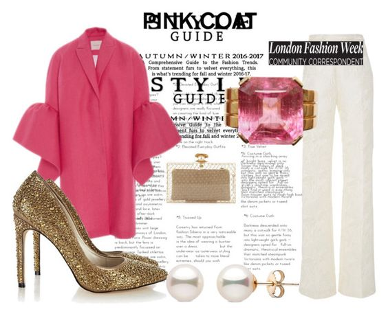 """""""#pinkcoat"""" by sugarmoonmama ❤ liked on Polyvore featuring Peter Pilotto, Christian Siriano, Charlotte Olympia and Karen Millen"""