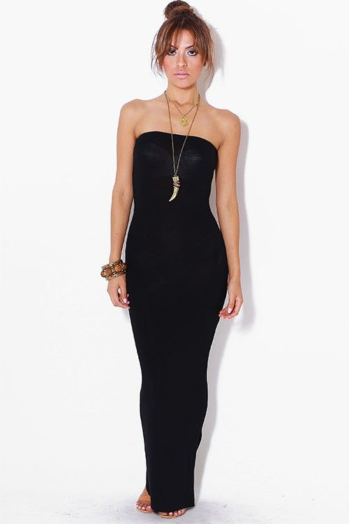 Super sexy tube maxi dress. This black bodycon dress features ...