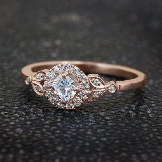 Blatt-Verlobungsring 18 K Rose Gold Ring von SillyShinyDiamonds