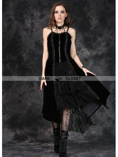 Dark in Love Black Gothic Punk Velet Dress with Jacquard Lace - DarkinCloset.com