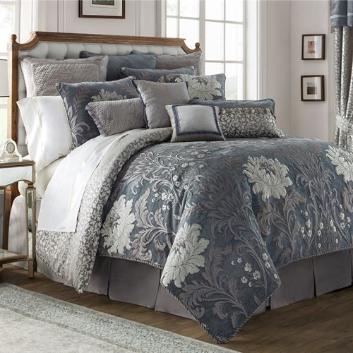 Ansonia Floral Comforter Set Blue Gray Blue And Grey Bedding Bedding Sets Grey Grey Bedding