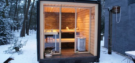 Stainless steel look outdoor sauna Sauna Pinterest Outdoor - schlichtes sauna design holz seeblick