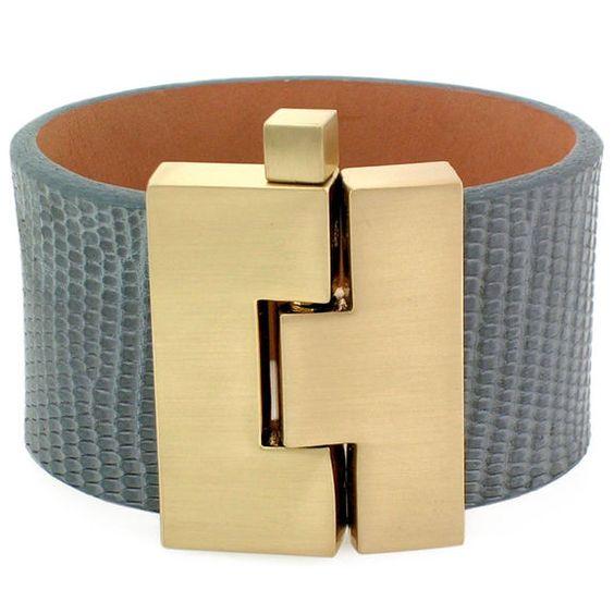 Wide Jigsaw Buckle Bracelet in Grey Lizard