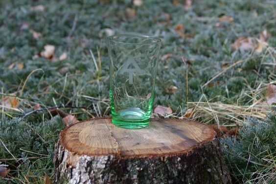 Etched Appalachian Trail Logo on Green Pint Glass. $8.00, via Etsy.