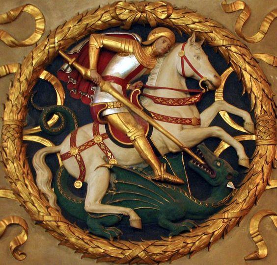 knight slaying dragon   relleu