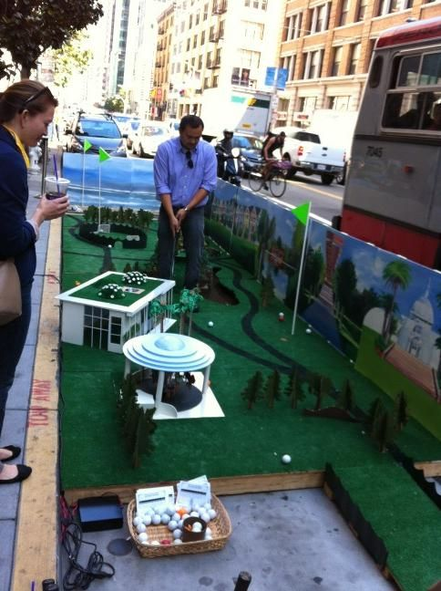 Architizer Blog » Goodbye Car, Hello Parklet!   Playful protest against car based city planning.  Architects and designers took part in creating mini recreational areas on car parking spaces around the city.