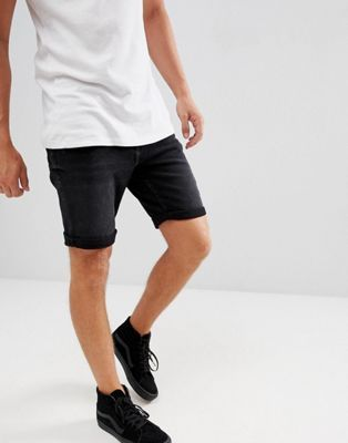 Image 1 of Mango Man Denim Shorts In Black